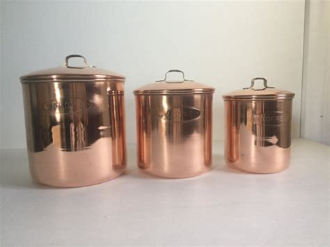 vintage kitchen copper canister set of 6 by vintagekitchenshop vintage copper kitchen canister set of 3