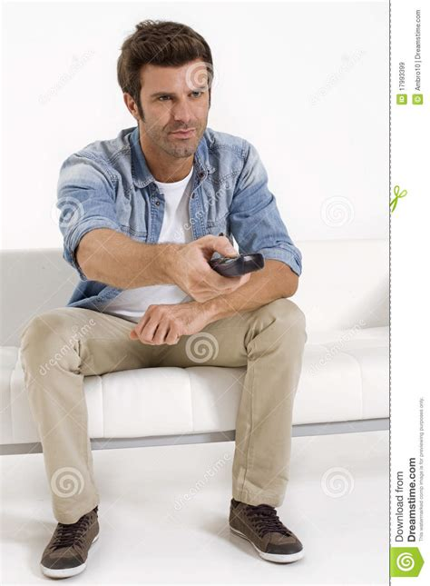 man on the couch single man on the couch watching tv royalty free stock