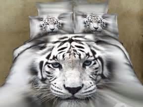 Tiger Bed Set Splendid White Tiger Print Photographic Image Comforter Set