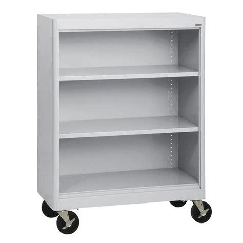 Sandusky Dove Gray Mobile Steel Bookcase Bm10361830 05 Movable Bookshelves