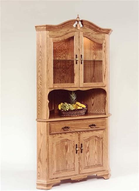 Corner Kitchen Hutch Furniture by Hardwood Corner Hutch Farmhouse China Cabinets And