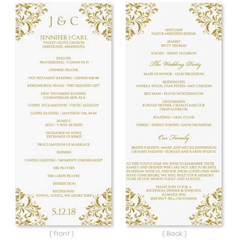 sle wedding ceremony program template wedding program template instant by