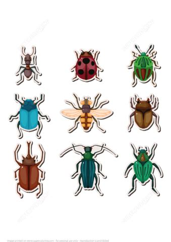 printable bug stickers insects printable stickers free printable papercraft