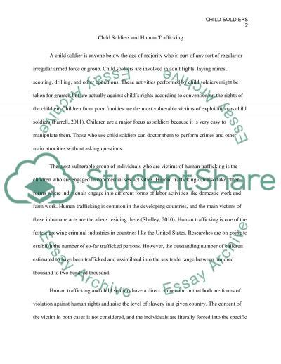 Child Soldiers Essay by Child Soldiers And Human Trafficking Research Paper