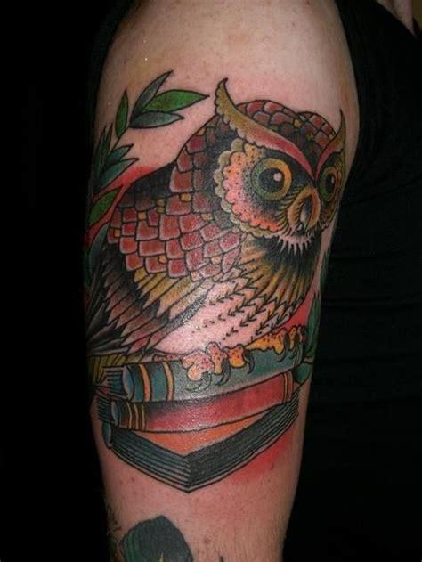 tattoo owl books owl with books tattoo ink pinterest