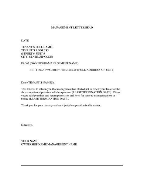 Letter Of Intent To Lease Exle lease non renewal letter exle 28 images landlord s
