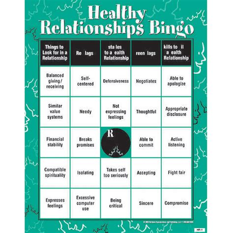 printable health games for adults healthy relationship flags obstacles adults skills bingo game