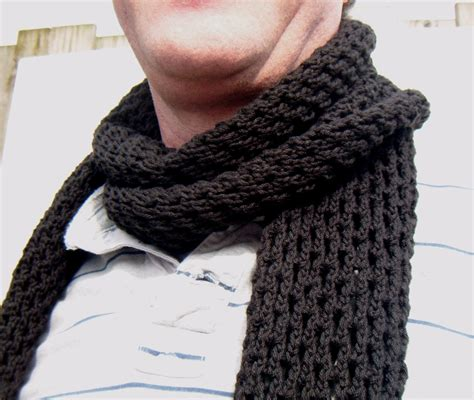 mens scarf knit mens scarf knit openwork pattern black scarf