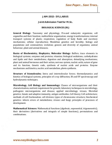 exam pattern for jam jam biological science syllabus latest 2015 joint