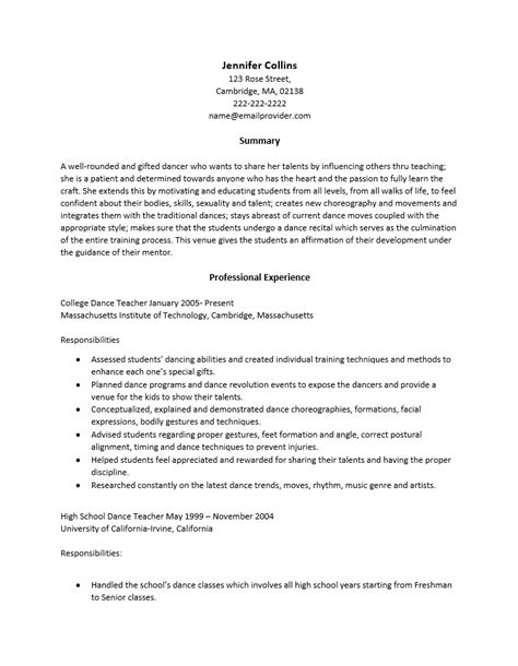 dancer resume template resumes template resume builder
