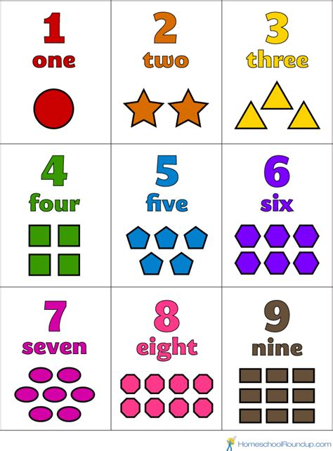 printable number shapes number flash cards