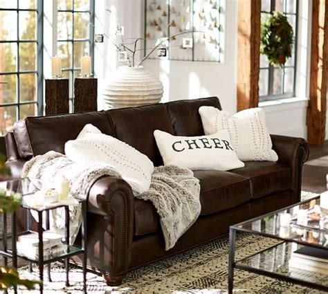 webster leather sofa pottery barn living room