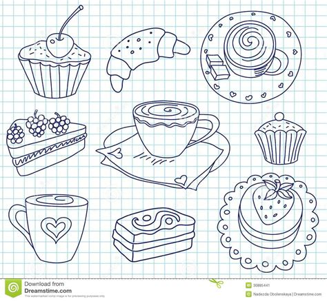 doodle coffee doodle coffee set stock image image 30885441