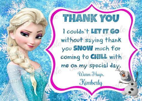 Frozen Thank You Card Template by Frozen Thank You Printable Frozen Inspired Thank You Note