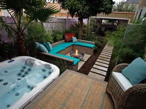 a tub deck pit and lush patio home