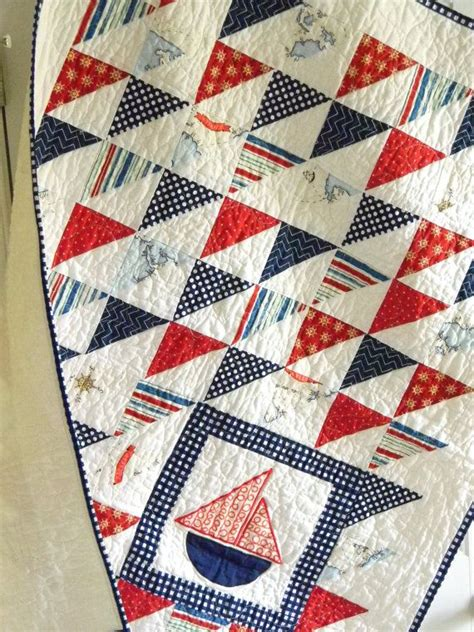 Nautical Quilts by Nautical Sailboat Baby Boy Quilt