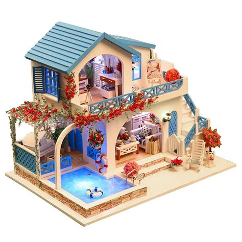 doll house ri blue white town santorini large villa large diy wood doll house 3d miniature lights