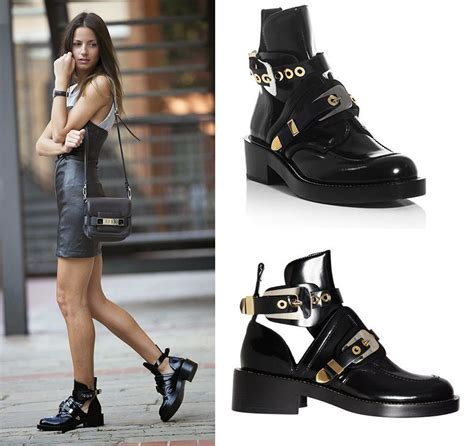 2017 new arrival cutout buckle boot black ankle boots