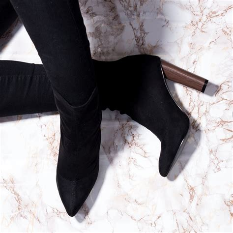Pointed Block Heel Ankle Boots rhino black ankle boots shoes from spylovebuy