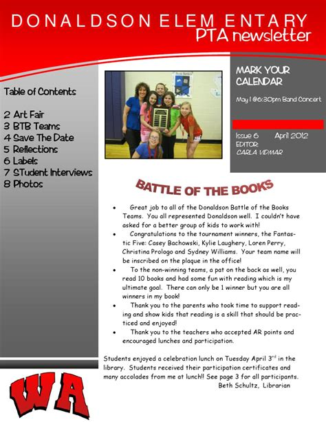 April Pta Newsletter By Donaldson Pta Issuu Pta Newsletter Templates In Word