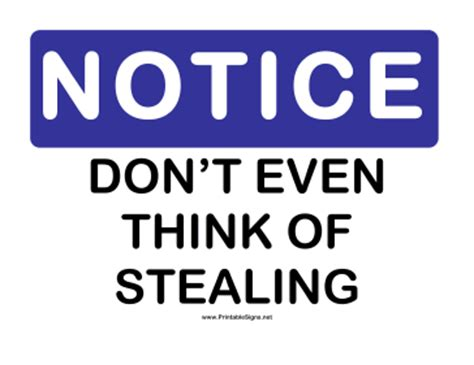 printable notice dont steal sign