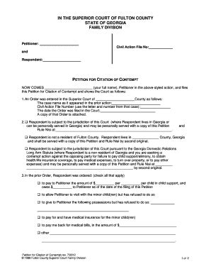 Fulton County Child Support Office by Court Contempt Fulton Fill Printable Fillable