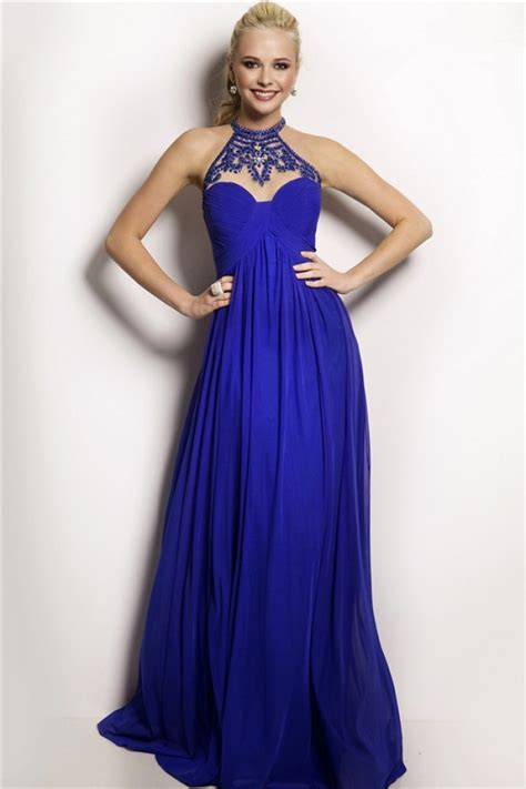 beaded blue dress flowing high neck empire waist royal blue chiffon