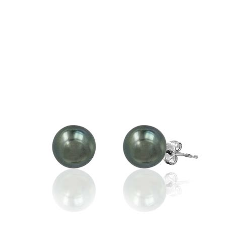 black bead earrings gold 14k white gold tahitian black pearl stud earrings