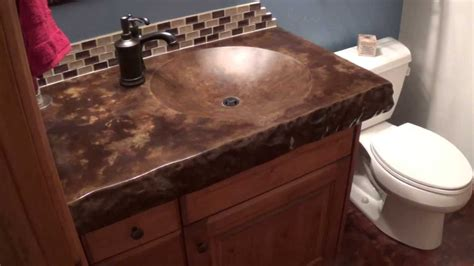 concrete shallow sink with acid staining