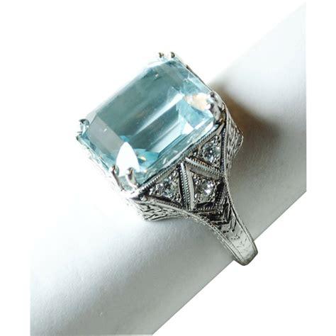 aquamarine deco engagement ring deco aquamarine and ring in platinum sold ruby