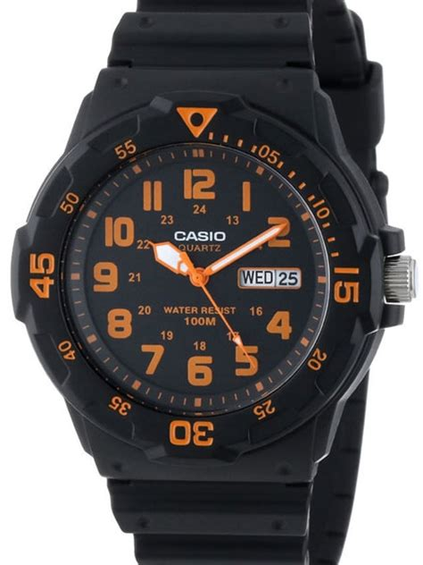 Casio Mrw 200h 4bvdf 100 Meter Water Resistance casio black resin quartz analog diver style with rotating bezel mrw 200h 4b