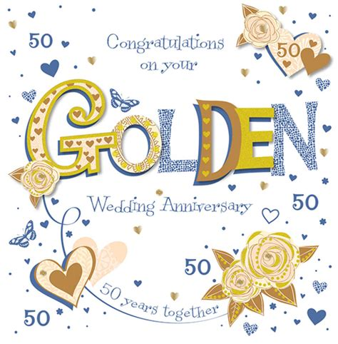 Golden Wedding Anniversary Cards Uk by Handmade Golden 50th Wedding Anniversary Greeting Card
