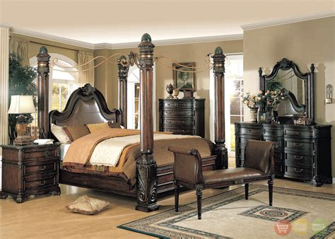 poster bedroom furniture set with leather headboard fabiana traditional poster canopy leather bedroom set w