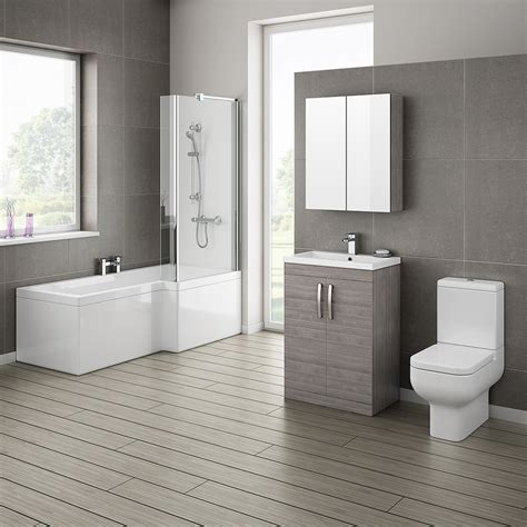 On Suite Bathroom Ideas Grey Avola Bathroom Suite With L Shaped Bath Now
