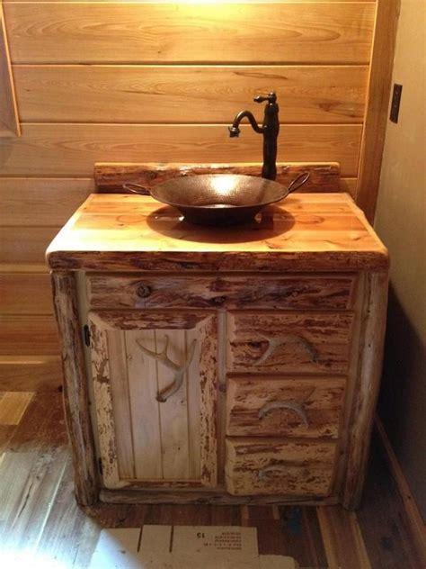 custom rustic cedar bathroom vanity   michigan