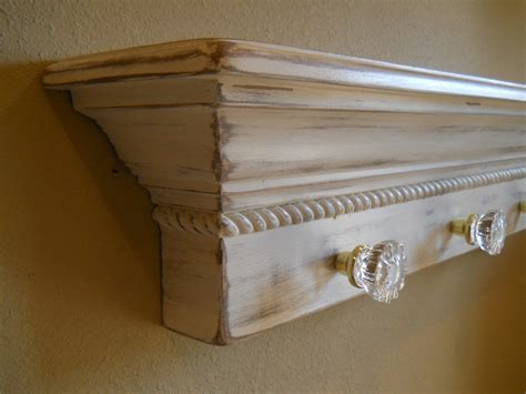 36 floating wall shelf with glass door knobs shabby