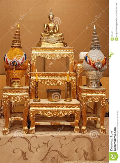 set of altar table image of buddha stock image image