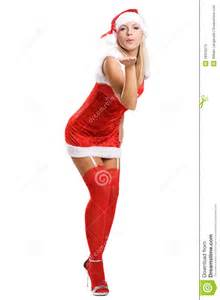 Sexy christmas girl in red stockings on white stock images image