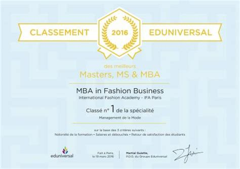 Mba In Frnace by Ifa Mba In Fashion Business Ranked 1 In By