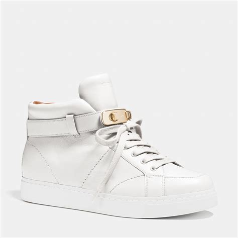 white coach sneakers lyst coach richmond swagger sneaker in white