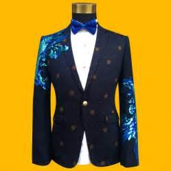 Fashion Blue 2017 newest blue sequined mens formal suit jacket blazer fashion blue paillette embroidered