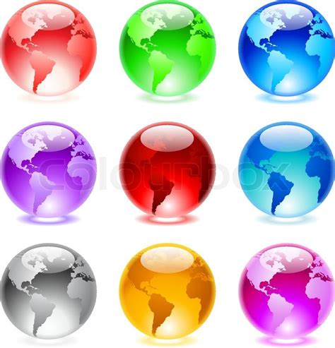 Collection Of Colorful Glossy Spheres Collection Of Colorful Glossy Spheres Isolated On White World Globe Stock Vector Colourbox