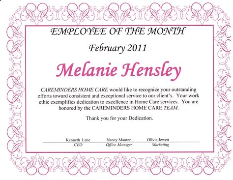 employee of the month template employee of the month certificate template images
