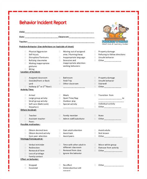 Behavior Report Templates For School Behavior Incident Report Template 14 Free Pdf Format