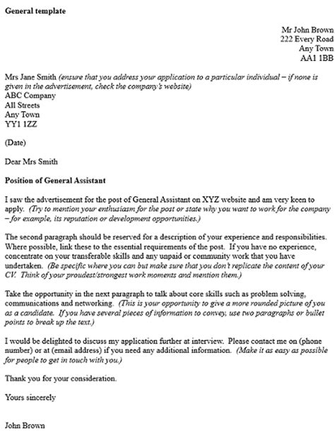 general cover letter template exle cover letters and