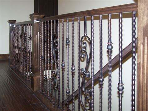 Wrought Iron Stair Balusters Wood Railing With Wrought Iron Balusters Traditional