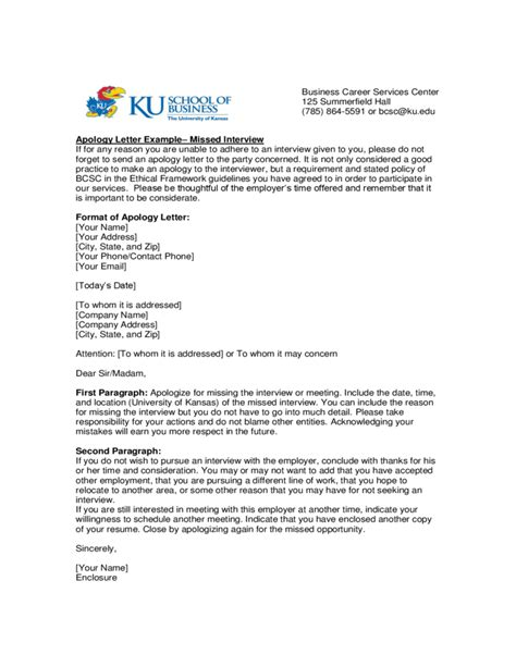 Apology Letter Format For College Apology Letter Exle Of Kansas Free