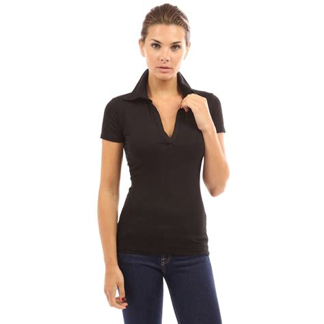 Top Slim Fitting Ori womens sleeve polo shirt v neck slim fit casual shirt blouse top ebay