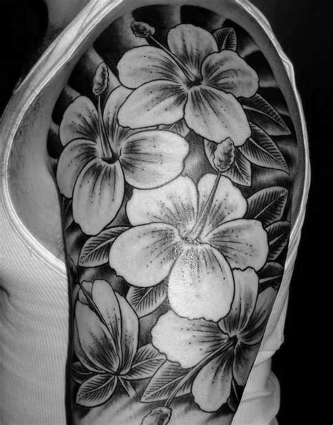 hibiscus tattoo black and grey 80 hibiscus tattoo designs for men flower ink ideas