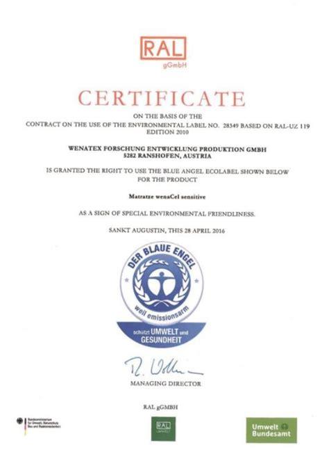 valutazione wenatex materasso riconoscimenti e certificati
